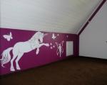 Kinderzimmer: Farbkonzept, Trockenbau, Teppichverlegung, Wandapplikationen
